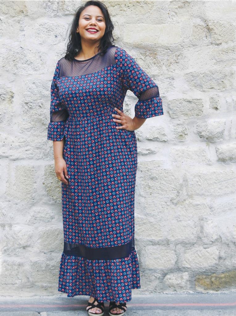 robe-mira-taren-bleue-imprimee